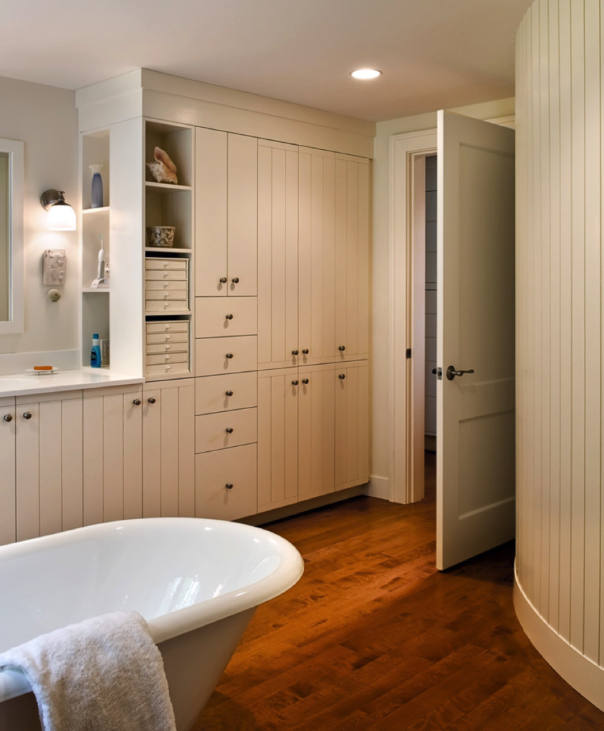 how custom built ins for bathrooms can help clean up your look
